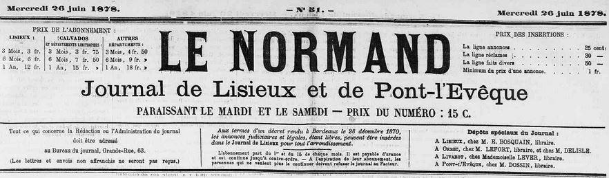 Photo (Calvados. Archives départementales) de : Le Normand. Lisieux, 1878-1902. ISSN 1248-4091.