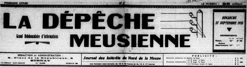 Photo (Meuse. Archives départementales) de : La Dépêche meusienne. Stenay, 1931-. ISSN 1245-1185.