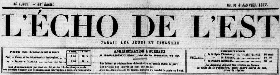 Photo (Meuse. Archives départementales) de : L'Écho de l'Est. Bar-le-Duc, 1859-[1914 ?]. ISSN 2126-2225.