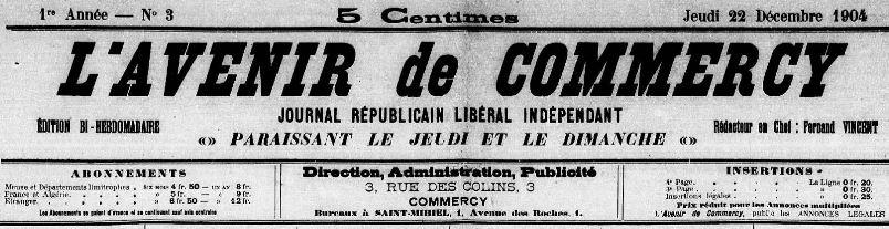 Photo (Meuse. Archives départementales) de : L'Avenir de Commercy. Commercy, 1904-1908. ISSN 2121-4042.
