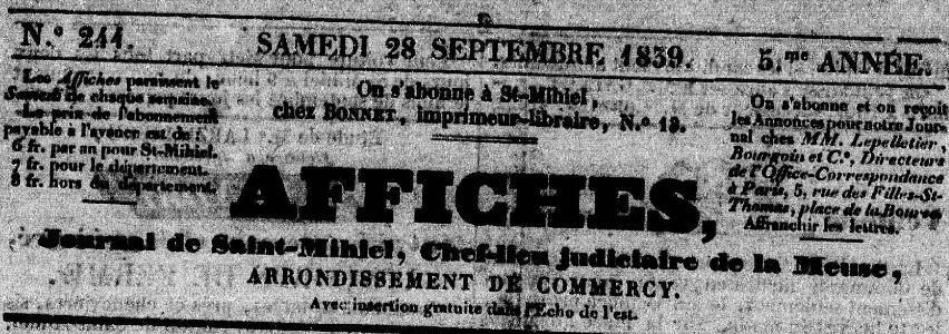 Photo (Meuse. Archives départementales) de : Affiches. Saint-Mihiel, 1837-1839. ISSN 2120-2613.