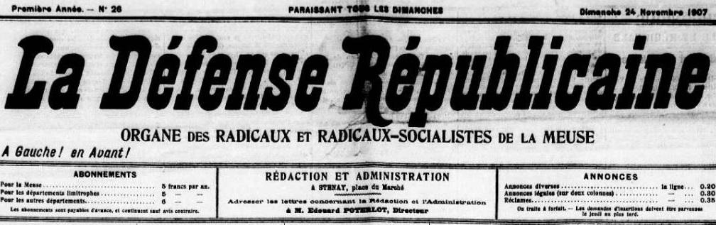 Photo (Meuse. Archives départementales) de : La Défense républicaine. Stenay, 1907-[1908 ?]. ISSN 2125-4850.