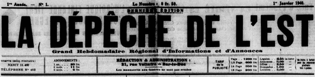 Photo (Meuse. Archives départementales) de : La Dépêche de l'Est. Bar-le-Duc, 1940. ISSN 2125-7612.
