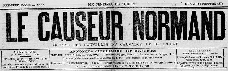 Photo (Calvados. Archives départementales) de : Le Causeur normand. Caen, 1878-1881. ISSN 2123-5589.