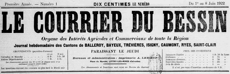 Photo (Calvados. Archives départementales) de : Le Courrier du Bessin. Littry-les-Mines, 1922. ISSN 2124-8532.