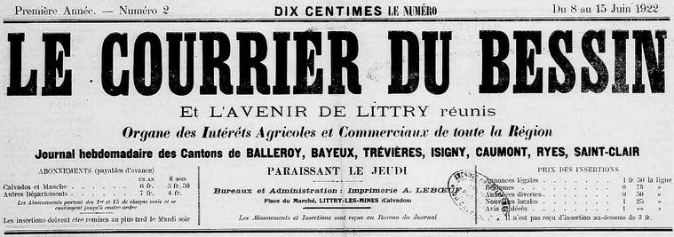 Photo (Calvados. Archives départementales) de : Le Courrier du Bessin et L'Avenir de Littry réunis. Littry-les-Mines, 1922-1924. ISSN 2124-8540.