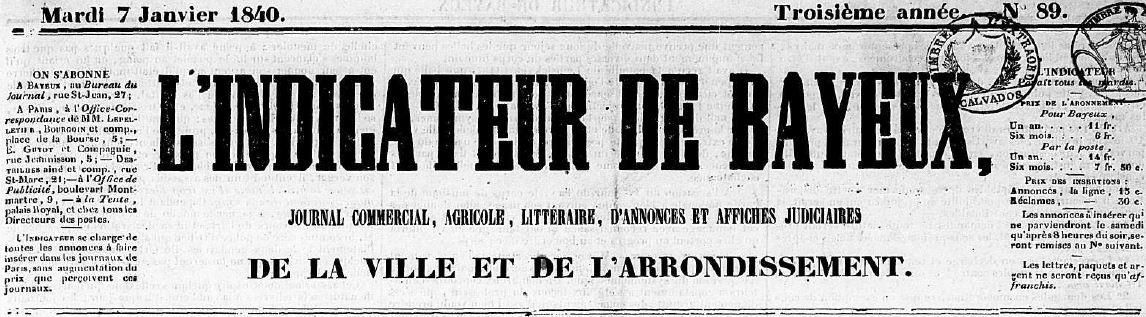 Photo (Centre régional des lettres (Basse-Normandie)) de : L'Indicateur de Bayeux. Bayeux, 1838-1919. ISSN 2129-7045.
