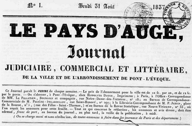 Photo (Calvados. Archives départementales) de : Le Pays d'Auge. Pont-l'Évêque, 1837-1880. ISSN 2133-7942.
