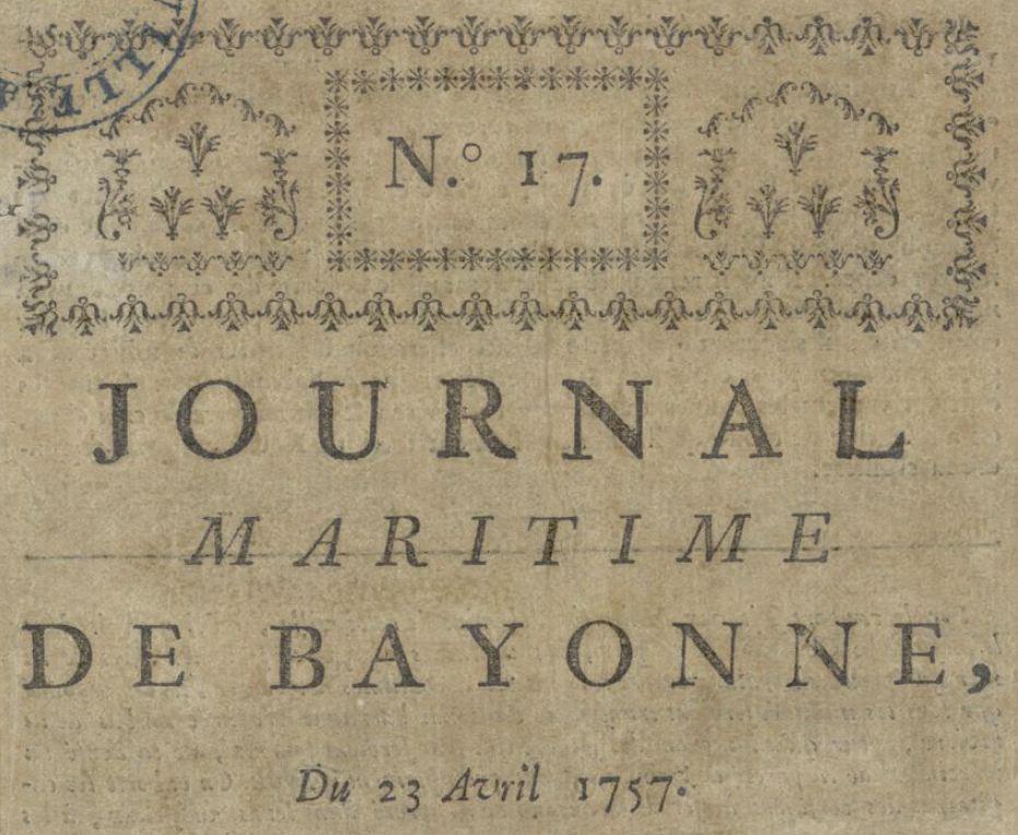 Photo (Bibliothèque municipale (Bayonne, Pyrénées-Atlantiques)) de : Journal maritime de Bayonne. Bayonne: Impr. J. Fauvet, [1757 ?]. ISSN 2018-946X.