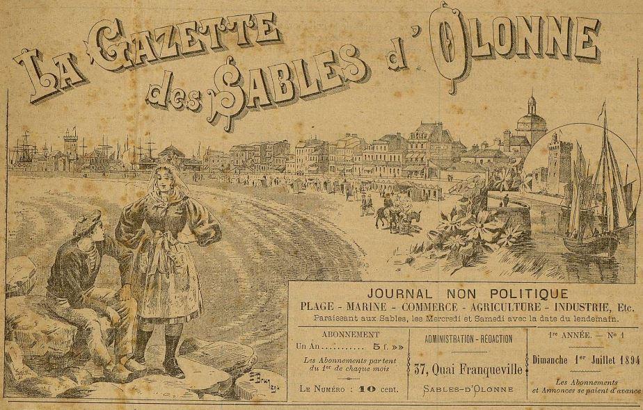 Photo (Les Sables-d'Olonne (Vendée). Archives municipales) de : La Gazette des Sables d'Olonne. Sables-d'Olonne, 1894-[1896 ?]. ISSN 2497-9236.
