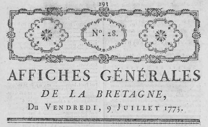 Photo (Loire-Atlantique. Archives départementales) de : Affiches générales de la Bretagne. Nantes, 1773-1790. ISSN 2103-0162.