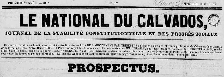 Photo (Calvados. Archives départementales) de : Le National du Calvados. Caen, 1843-1844. ISSN 2107-965X.