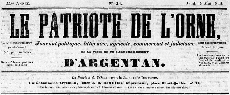 Photo (Centre régional des lettres (Basse-Normandie)) de : Le Patriote de l'Orne. Argentan, 1848. ISSN 2107-9676.