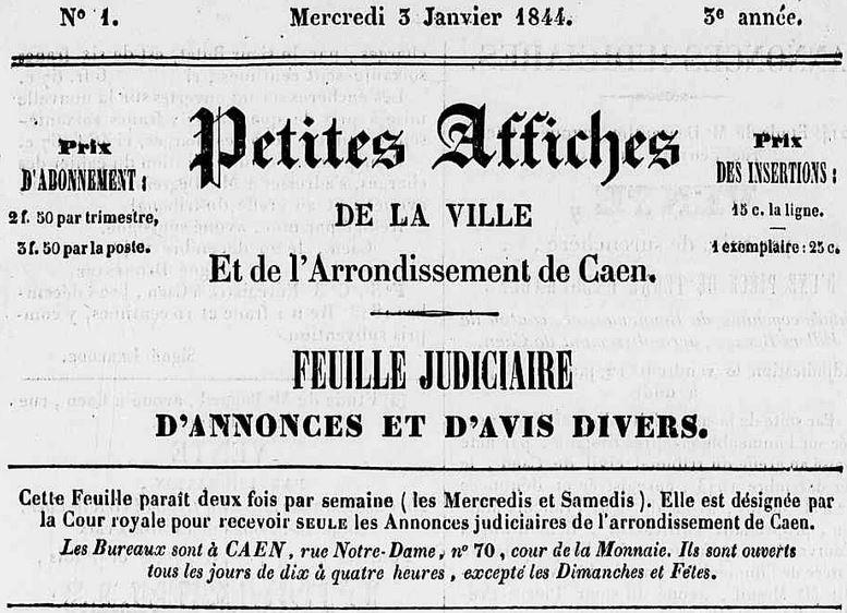 Photo (Calvados. Archives départementales) de : Petites affiches de la ville et de l'arrondissement de Caen. Caen, 1842-1848. ISSN 2107-9692.