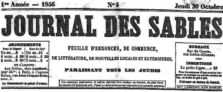 Photo (Vendée. Archives départementales) de : Journal des Sables. Les Sables d'Olonne: impr. Lambert, 1856-1865. ISSN 2256-9529.
