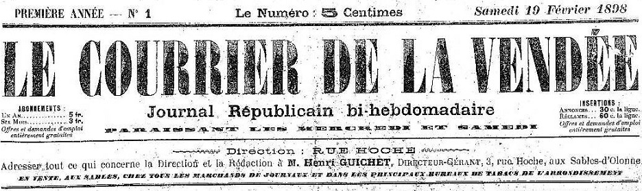 Photo (Vendée. Archives départementales) de : Le Courrier de la Vendée. Les Sables-d'Olonne: Henri Guichet, directeur-gérant, 1898. ISSN 2431-0476.