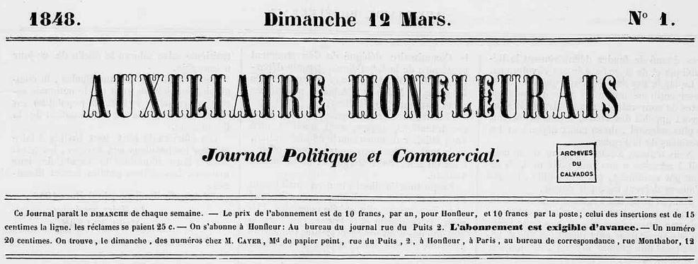 Photo (Calvados. Archives départementales) de : Auxiliaire honfleurais. Honfleur: C. de Baudre, 1848. ISSN 2491-598X.