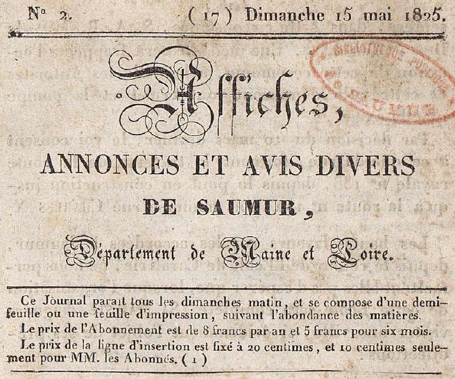 Photo (Bibliothèque municipale (Saumur, Maine-et-Loire)) de : Affiches, annonces et avis divers de Saumur. Saumur, 1825-[1837 ?]. ISSN 2120-3881.