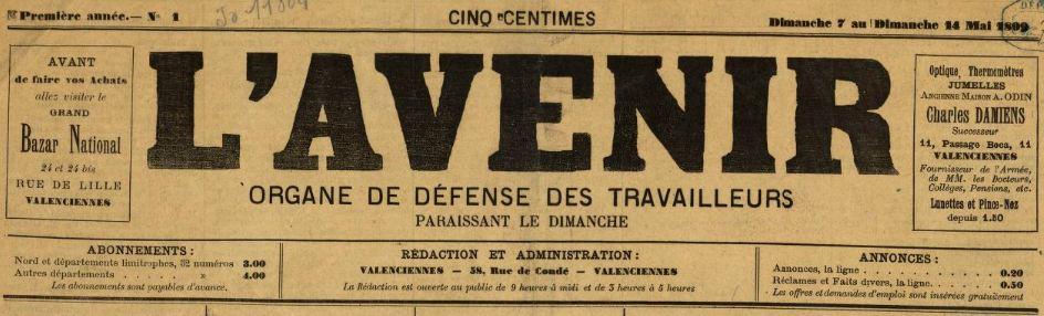 Photo (BnF / Gallica) de : L'Avenir. Valenciennes, 1899-1901. ISSN 2121-3135.
