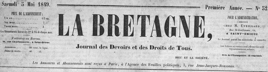 Photo (Côtes-d'Armor. Archives départementales) de : La Bretagne. Saint-Brieuc: Guyon frères, 1848-1860. ISSN 1963-3939.