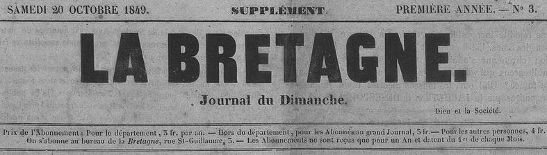 Photo (Côtes-d'Armor. Archives départementales) de : La Bretagne. Supplément. Saint-Brieuc: Guyon frères, 1849-1852. ISSN 1963-3947.