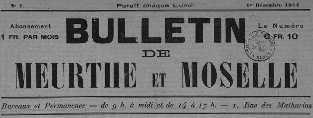 Photo (Bibliothèques de Nancy) de : Bulletin de Meurthe-et-Moselle. Paris, 1914-1920. ISSN 2100-4765.