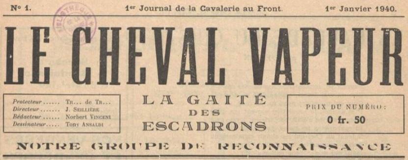 Photo (La Contemporaine. Bibliothèque, archives, musée des mondes contemporains (Nanterre)) de : Le Cheval vapeur. [S.l.], 1940. ISSN 1962-0233.