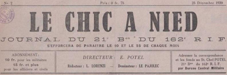 Photo (La Contemporaine. Bibliothèque, archives, musée des mondes contemporains (Nanterre)) de : Le Chic à Nied. [S.l.], 1939-1940. ISSN 1963-627X.