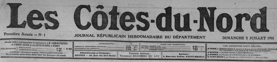 Photo (Côtes-d'Armor. Archives départementales) de : Les Côtes-du-Nord. Rennes, 1911-1942. ISSN 1963-7691.