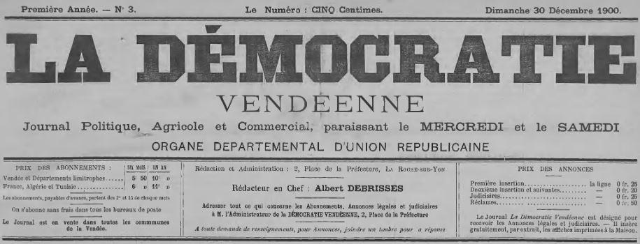Photo (Médiathèque Benjamin-Rabier (La Roche-sur-Yon)) de : La Démocratie vendéenne. La Roche-sur-Yon, 1900-1926. ISSN 2125-7280.