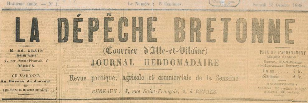 Photo (BnF / Gallica) de : La Dépêche bretonne. Rennes, 1888-1914. ISSN 2125-7442.