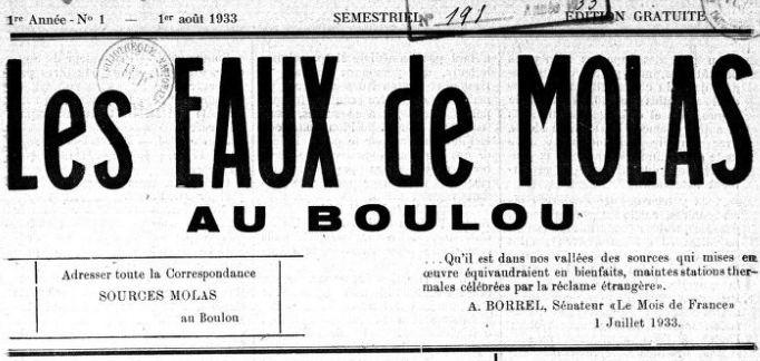 Photo (BnF / Gallica) de : Les Eaux de Molas au Boulou. Le Boulou, 1933-[1933 ?]. ISSN 2126-0435.
