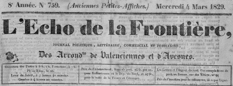 Photo (Bibliothèque municipale (Valenciennes, Nord)) de : L'Écho de la frontière. Valenciennes, 1829-1894. ISSN 2126-2713.