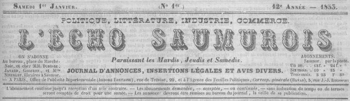 Photo (Saumur (Maine-et-Loire). Archives municipales) de : L'Écho saumurois. Saumur, 1841-1962. ISSN 2126-7820.