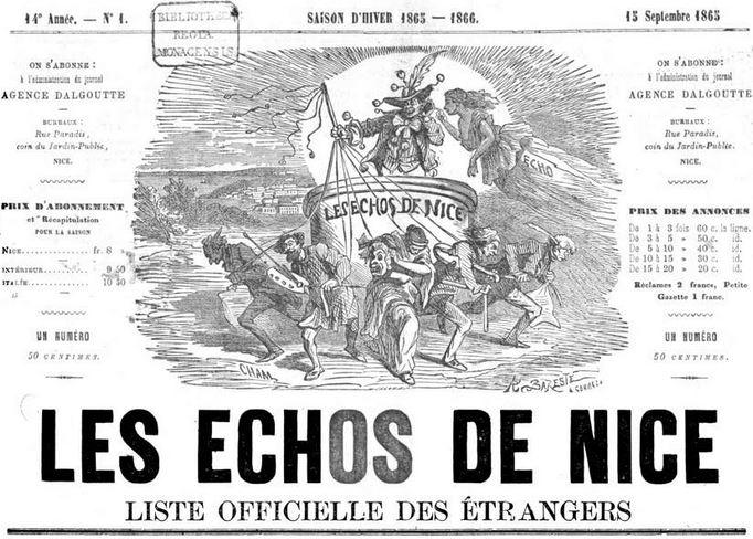 Photo (Bayerische Staatsbibliothek München, 2 Per. 4 y-1865/67, S. 1, urn:nbn:de:bvb:12-bsb10498367-7) de : Les Échos de Nice. Nice, 1856-[1937 ?]. ISSN 2126-838X.