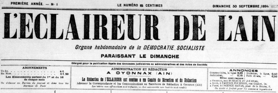 Photo (BnF / Gallica) de : L'Éclaireur de l'Ain. Oyonnax, 1894-[1951 ?]. ISSN 2126-9394.