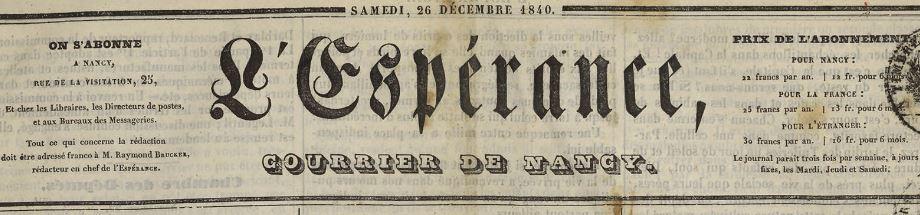 Photo (Bibliothèques de Nancy) de : L'Espérance. Nancy: Impr. de Vagner, 1840-1898. ISSN 1963-4218.
