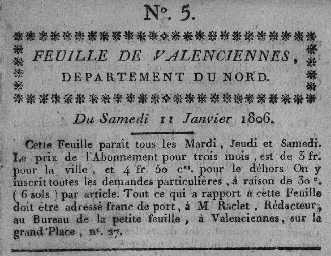 Photo (Bibliothèque municipale (Valenciennes, Nord)) de : Feuille de Valenciennes, département du Nord. Valenciennes, 1806-1811. ISSN 2127-987X.
