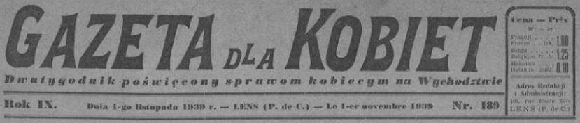 Photo (La Contemporaine. Bibliothèque, archives, musée des mondes contemporains (Nanterre)) de : Gazeta dla kobiet. Lens, 1931-1940. ISSN 2128-5144.