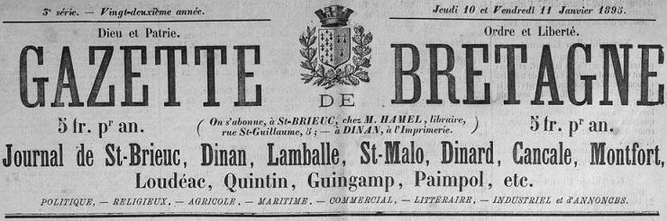 Photo (Côtes-d'Armor. Archives départementales) de : Gazette de Bretagne. Dinan, Saint-Malo, 1890-1899. ISSN 1963-7500.