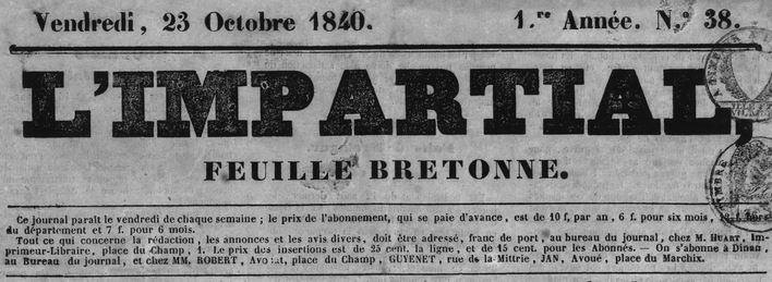 Photo (Côtes-d'Armor. Archives départementales) de : L'Impartial. Dinan: Jean-Baptiste Huart, 1840-1858. ISSN 2025-7031.