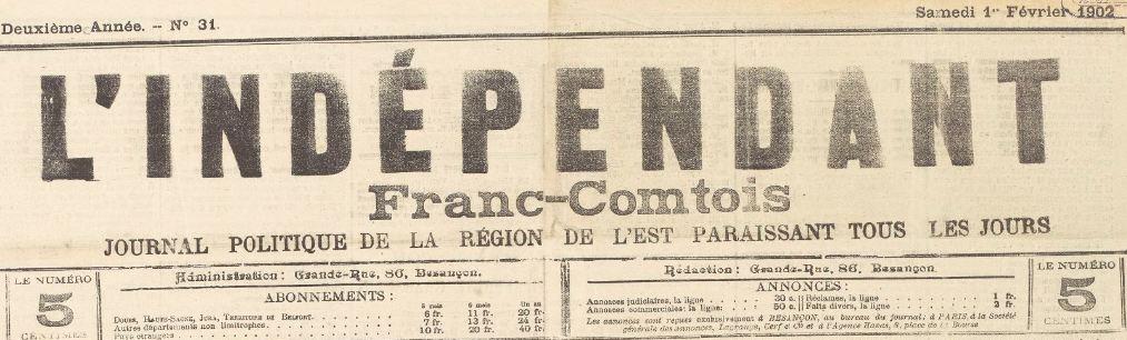 Photo (BnF / Gallica) de : L'Indépendant franc-comtois. Besançon, 1901-1903. ISSN 2024-357X.