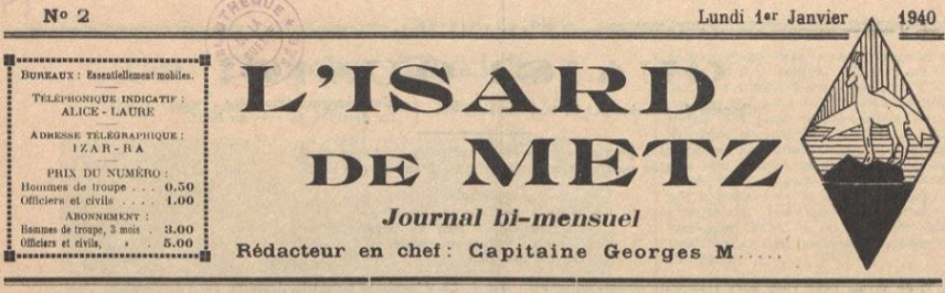 Photo (La Contemporaine. Bibliothèque, archives, musée des mondes contemporains (Nanterre)) de : L'Isard de Metz. [S.l.], 1939-1940. ISSN 1963-3173.