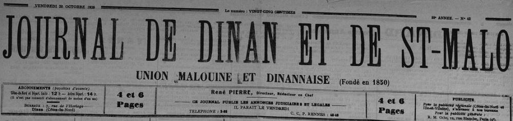 Photo (Côtes-d'Armor. Archives départementales) de : Journal de Dinan et de St-Malo. Dinan, 1939-1944. ISSN 1963-7551.