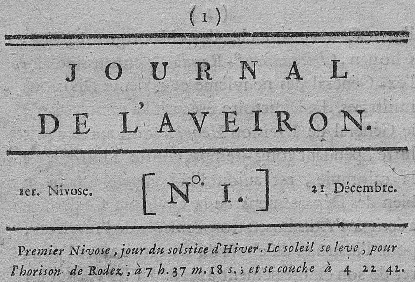 Photo (Aveyron. Archives départementales) de : Journal de l'Aveyron. Rodez, 1796-1944. ISSN 2130-4033.