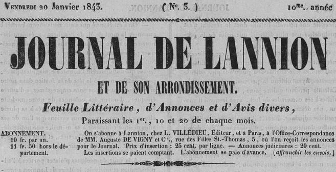 Photo (Côtes-d'Armor. Archives départementales) de : Journal de Lannion et de son arrondissement. Lannion: Louis Villedieu, [18..]-1944. ISSN 1966-124X.