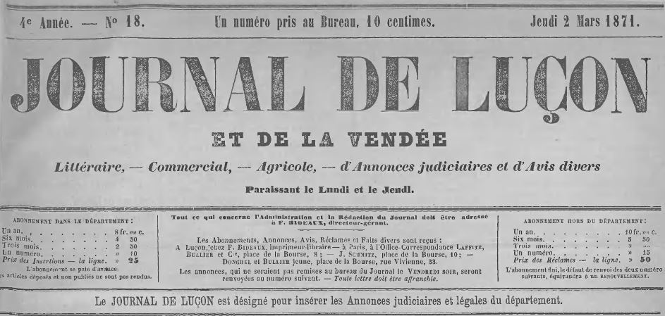 Photo (Médiathèque Benjamin-Rabier (La Roche-sur-Yon)) de : Journal de Luçon et de la Vendée. Luçon, 1868-1898. ISSN 1248-3850.