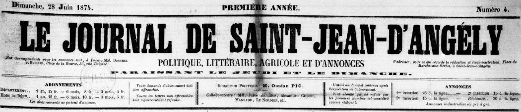 Photo (BnF / Gallica) de : Le Journal de Saint-Jean-d'Angély. Saint-Jean-d'Angély, 1874-1877. ISSN 2130-6044.
