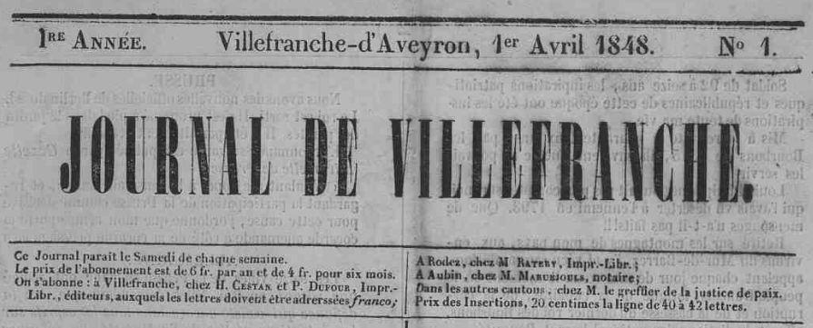 Photo (Aveyron. Archives départementales) de : Journal de Villefranche. Villefranche[-de-Rouergue], 1848-1882. ISSN 2130-6834.