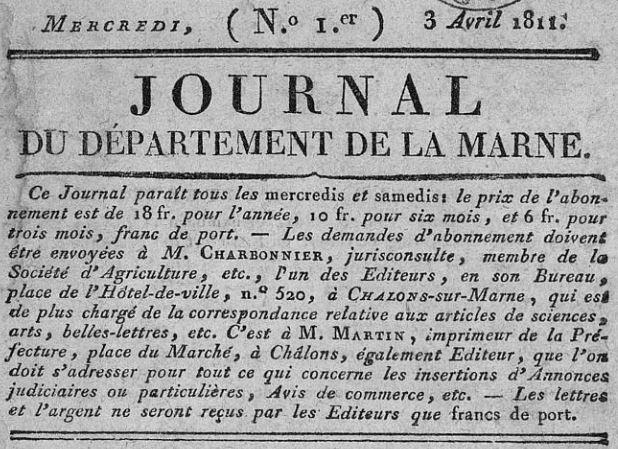 Photo (Châlons-en-Champagne. Bibliothèques municipales) de : Journal du département de la Marne. Châlons-sur-Marne, 1811-1949. ISSN 2130-8640.
